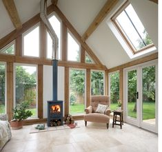 Garden room by Border Oak Bungalow Extensions, Garden Room Extensions, House Extensions, Oak Framed Extensions, Border Oak, Oak Frame House, Tall Windows, Windows Image, Timber Windows