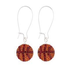 Handcrafted Tangerine-Ruby (Maroon-Orange) Basketball Earrings with Silver Wire, Item E-BB31, Price:  $35.99, © GameDay Fusion