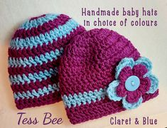 Twin Baby Hats, Twins Photo Prop, Baby Football Team Hat, Claret & Blue, Twins Baby Gift, Team Hat, Mixed Twins Hats, Newborn  Baby Hat,