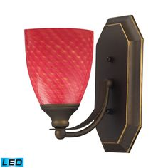 Bath And Spa 1 Light LED Vanity In Aged Bronze And Scarlet Red Glass 570-1B-SC-LED