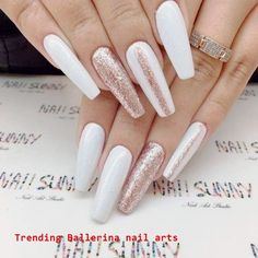 Hot Color Shades to Stay Fashionable with Ballerina Nails Crystal White Ballerina Nails picture… White Coffin Nails, Coffin Shape Nails, Rose Gold Nails, White Nails, Nail Art Designs, Acrylic Nail Designs, Ongles Or Rose, Ballerina Acrylic Nails, New Years Eve Nails