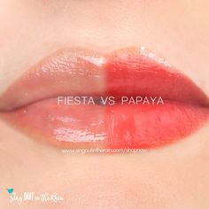 Compare Fiesta vs. Papaya LipSense Gloss using this photo.  Fiesta Gloss is part of the Fiesta LipSense Collection by SeneGence.