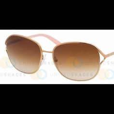 Gradient sunglassesMAKE AN OFFERor Trade? Prada 58M/S 7OE-1Z1 Sunglasses in size 59 mm : Women's, Brass metal frame, light oval shaped.  Worn once.  Would love to trade for sunnies with large plastic frame.  These just don't look right on my face Prada Accessories Sunglasses