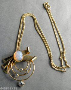 "Vintage ESTATE STAR ART12kt gold filled faux fire opal Brooch Pendant16""chain"