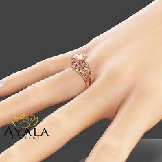 2 Carat Peach Pink Morganite Custom Ring in Rose Gold Unique Design Engagement Ring Art Deco Styled Ring Morganite Engagement, Morganite Ring, Rose Gold Engagement Ring, Engagement Ring Settings, Unique Rings, Or Rose, Natural Diamonds, White Gold, Peach