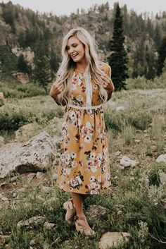 Fall Mustard Floral Dress | ROOLEE