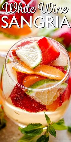 Easy White Wine Sangria - Diethood White Wine Sangria - Delicious and very refreshing summer cocktail that will cool your beach and hot days in minutes! Strawberries and peaches make this the perfect summertime drink! White Peach Sangria, White Wine Sangria, Best White Sangria Recipe, Berry Sangria, Refreshing Summer Cocktails, Summer Drinks, Alcohol Recipes, Wine Recipes, Wine Mixed Drinks