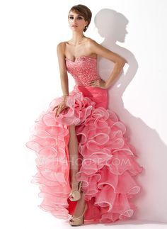 Trumpet/Mermaid Sweetheart Asymmetrical Organza Satin Prom Dress With Ruffle Beading Sequins Split Front Cascading Ruffles (018005075)