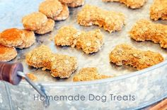 Homemade Dog Treats - Simple to make these yummy treats that your furry friend will love!  from addapinch.com