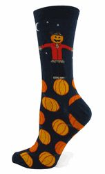 Pumpkin Patch Socks on Navy