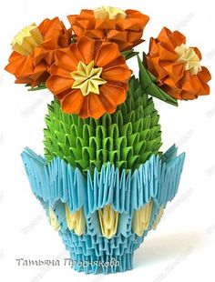 Master Class origami modular chinez cactus înflorit din hartie modulelor