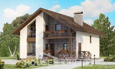 155-001-П Проект двухэтажного дома мансардой и гаражом, красивый загородный дом из бризолита,