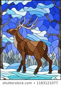Illustration in stained glass style with wild deer on the background of trees, mountains , snow and sky Apple Art, Animal Drawings, Illustration, Glass Painting, Mountain Paintings, Painting Patterns, Stained Glass Birds, Glass Animals, Polygon Art