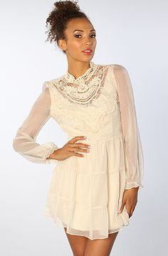 The Lace Peasant Dress in Beige by *LA Boutique http://www.karmaloop.com/product/The-Lace-Peasant-Dress-in-Beige/290568
