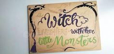 raffaelladivaio*illustrazione e creatività: IS THIS HALLOWEEN? la porta dell'Antro della Strega si prepara per Halloween! A WITCH LIVES HERE -colori in corso- smalto su tavola di legno di recupero cm. 17x24 sp. 0,5 ©raffaelladivaio.com2016
