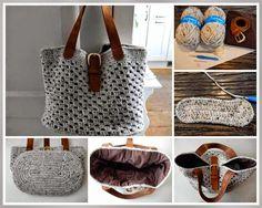 Crochet lined handbag Crochet Clutch, Crochet Handbags, Crochet Purses, Crotchet Bags, Knitted Bags, Diy Crochet And Knitting, Love Crochet, Granny Stripes, Pinterest Crochet