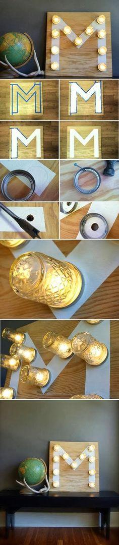My DIY Projects: DIY Decorative Jar Light - I bet this would be cool with baby food jars! Diy Home Decor For Apartments, Diy Home Decor Projects, Cool Diy Projects, Craft Projects, Craft Ideas, Decor Ideas, Fun Crafts, Diy And Crafts, Luminaria Diy