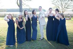 Groom being a girl & Bridesmaids being a boy! Navy Dresses, different dresses; Khaki Suit; Men's Warehouse; Southern Wedding; Oak Level Farm