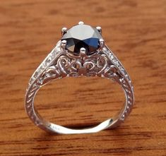 Antique Style Black Diamond  Engagement  Ring 18k  White Gold on Etsy, $850.00
