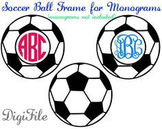 Soccer Frame for Monograms SVG, DXF, EPS, for Silhouette, Makes the Cut, Sure Cuts A Lot, Cricut Design Space, Vinyl Cutters by DigiFile on Etsy https://www.etsy.com/listing/240740544/soccer-frame-for-monograms-svg-dxf-eps