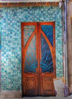 Green Tile Framed Art Nouveau Doors