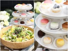 brunch reception: salads, fish, chicken, omelettes, fruit, breakfast foods and sweets.