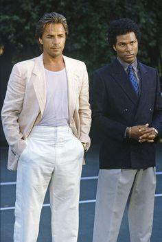 Don Johnson and Philip Michael Thomas as Sonny Crockett and Ricardo Tubbs in Miami Vice.