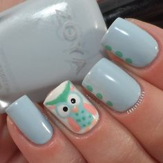 Cute Owl Nail Art Nail Design @Jamie Wise Wise Wise DeMarco