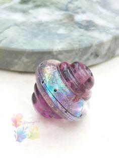 Lampwork Beads Amethyst Ice Rainbow by GlitteringprizeGlass for jewellery making. #lampwork #beads #handmade #etsyhunter #glitteringprizeglass #etsy #rainbow #purple