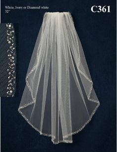 JL Johnson Bridals C361 Crystal Beaded Elbow Length Wedding Veil - Affordable Elegance Bridal -