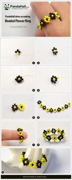 PandaHall Ring tutorial - The tutorial of making a ring with seed beads. You can buy all the materials on our website. Diy Friendship Bracelets Patterns, Diy Bracelets Easy, Bracelet Crafts, Bracelet Patterns, Jewelry Crafts, Handmade Jewelry, Diy Beaded Rings, Diy Rings, Bracelet Tutorial