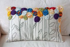 Custom Embroidered Pillow with Rosette and Fabric Flower Appliqué - Memory Pillow via Etsy