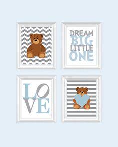 Teddy bear Nursery Art - Baby Boy Nursery Art Nursery Prints, Blue Baby Nursery Decor Playroom Rules Quote Art, Kids Wall Art Boys Room
