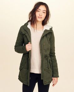 3a34047e02c Hollister Stretch Twill Sherpa-Lined Parka. Just in time for fall. ( affiliate