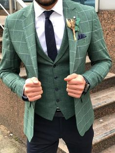 Wedding Suit Slim-Fit Plaid Suit Vest Green – BOJONI - Available Size : material : cotton , linenMachine washable : No Fitting : slim-fit Remarks : Dry Cleaner Stylish Mens Fashion, Mens Fashion Suits, Mens Suits, Mens Plaid Suit, Mens Slim Fit Suits, Mens Green Blazer, Slim Fit Tuxedo, Plaid Vest, Womens Fashion