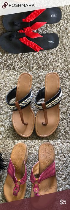 9280c55fca Ladies shoes Cato wedge flip flops size 9($5) Tommy Hilfiger wedge size 9