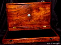 Hawaiian koa wood custom display boxes made to order. Shown here with black velvet bottom liner. Internal removable tray held collectible item securely. www.SalterFineCutlery.com