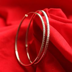 The Circle Simple Sterling Silver Big Hoop Earrings Suitable For All Kinds Of Occasions | Price: US$18.78/pair(s)