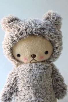 Kawaii Teddy Bear Plushie Speckled Brown and White Minky Large JASPER