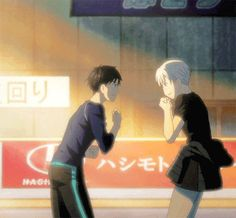 Now I wanna say something about this gif here and about victuuri, I think they are super in love/dating bc a Gf of mine who's super clingy to me and she knows I'm into her, does this a lot and I mean a lot, I'll tell you a fact about girls, Idk if this goes for guys or gay guys or not but when a girl presses her entire body up against you, she's into you. my friend does this, she will cling to me and press her entire body up against me like these two dorks do in this episode. dorks in love