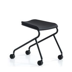 Work stool / contemporary / steel / leather - ADD MOVE by Anya Sebton…