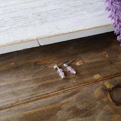 Cute Rose Quartz earrings, drop earrings, pink, stainless steel earrings by EssennzDesigns on Etsy Gemstone Earrings, Drop Earrings, Cute Rose, Crystal Meanings, Stainless Steel Earrings, Bracelet Making, Rose Quartz, Gemstones, Pink