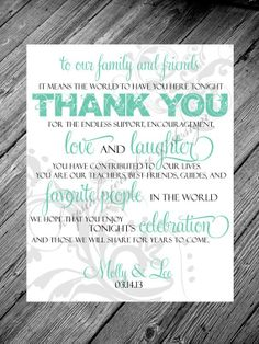 Thank You Reception Cards for wedding - printable wedding signs, Metallic or Solid Paper tags for wedding, personalized wedding quotes, 2014 valentine's day ideas www.loveitsomuch.com