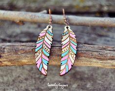 Pink & Blue Wood native earrings feather by TheTwentyFingers, $12.00
