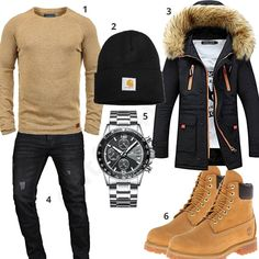 Beige-Schwarzes Outfit mit Parka und Boots (m0755) #blend #pulliover #megalith #carhartt #outfit #style #herrenmode #männermode #fashion #menswear #herren #männer #mode #menstyle #mensfashion #menswear #inspiration #cloth #ootd #herrenoutfit #männeroutfit