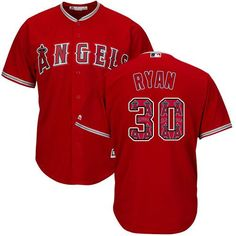 Angels of Anaheim #30 Nolan Ryan Red Team Logo Fashion Stitched MLB Jersey