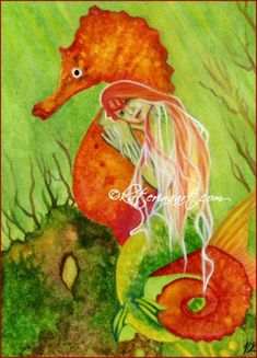 Seahorse | Seahorse Mermaid Original 5 x 7 Watercolor Painting KaterinaArt ...