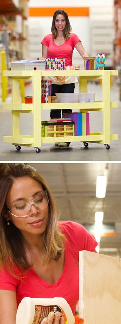 This DIY rolling storage cart would be a great gift wrapping station, back to sc… - Gartenhaus diy Diy Furniture Stain, Diy Furniture Tutorials, Beginner Woodworking Projects, Diy Furniture Plans, Diy Projects To Try, Wood Projects, Rolling Storage Cart, Workshop Storage, Do It Yourself Home