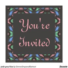 Colorful blue pink green pattern on black Square party invitation