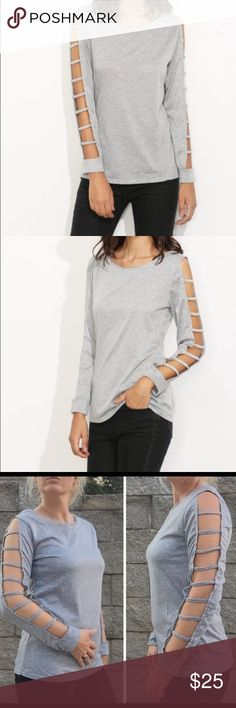 "Grey Ladder Cut Out Sleeve Top Casual ladder cut out sleeve top. T-shirt material Tag says large but would fit a small to medium. New in package  Bundle and save 10%  ✨Bust: 36"" ✨Length: 24"" Boutique Tops Tees - Long Sleeve"